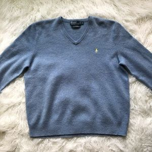 POLO BY RALPH LAUREN BLUE V-NECK LAMBSWOOL SWEATER